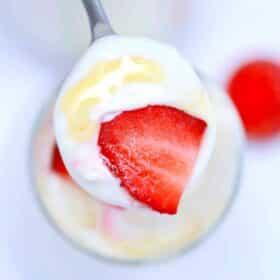 homemade crockpot yogurt with strawberries