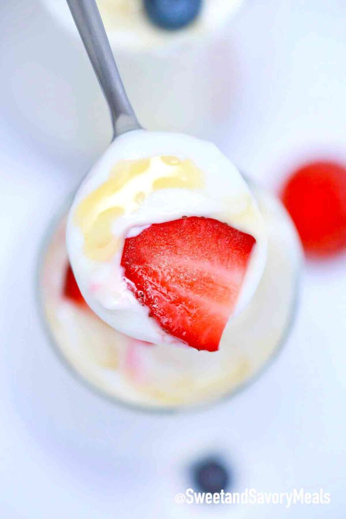 homemade crockpot yogurt with strawberries