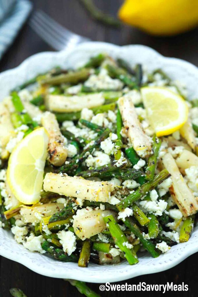 grilled asparagus salad with feta