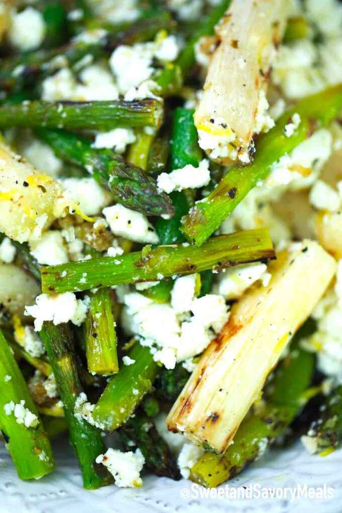 grilled green and white asparagus salad