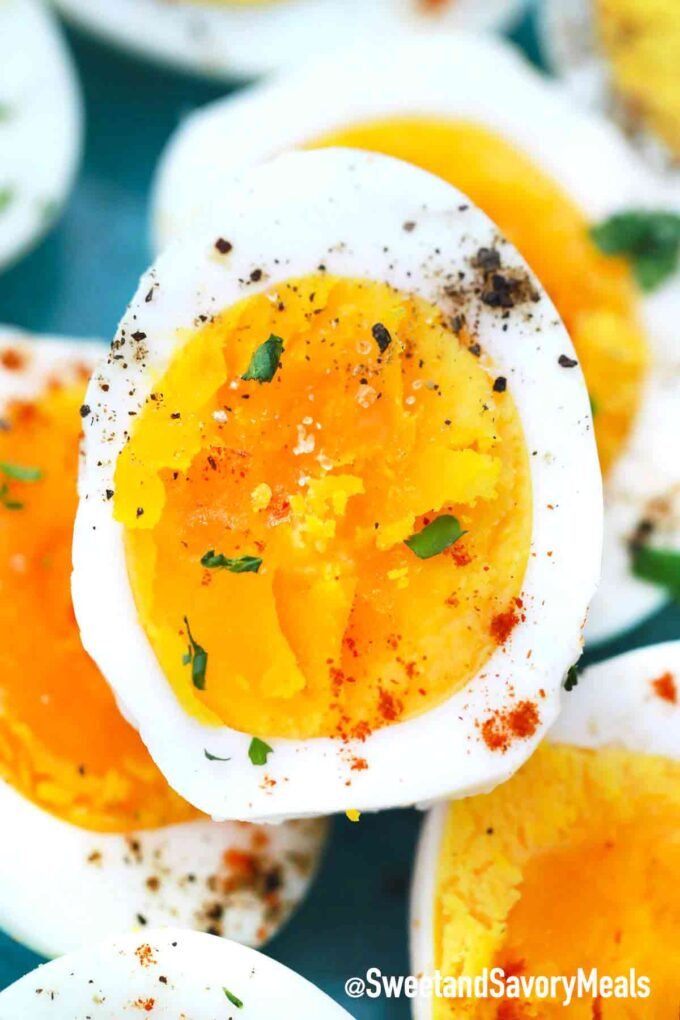 air fryer eggs garnished with ground black pepper and parsley