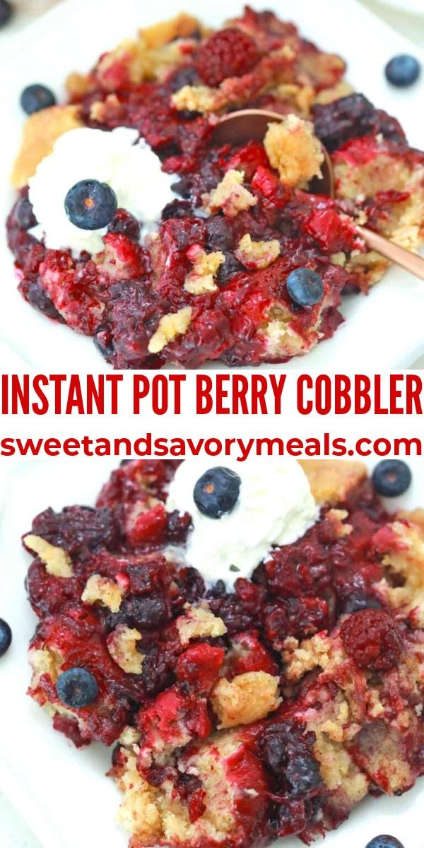 easy instant pot berry cobbler pin
