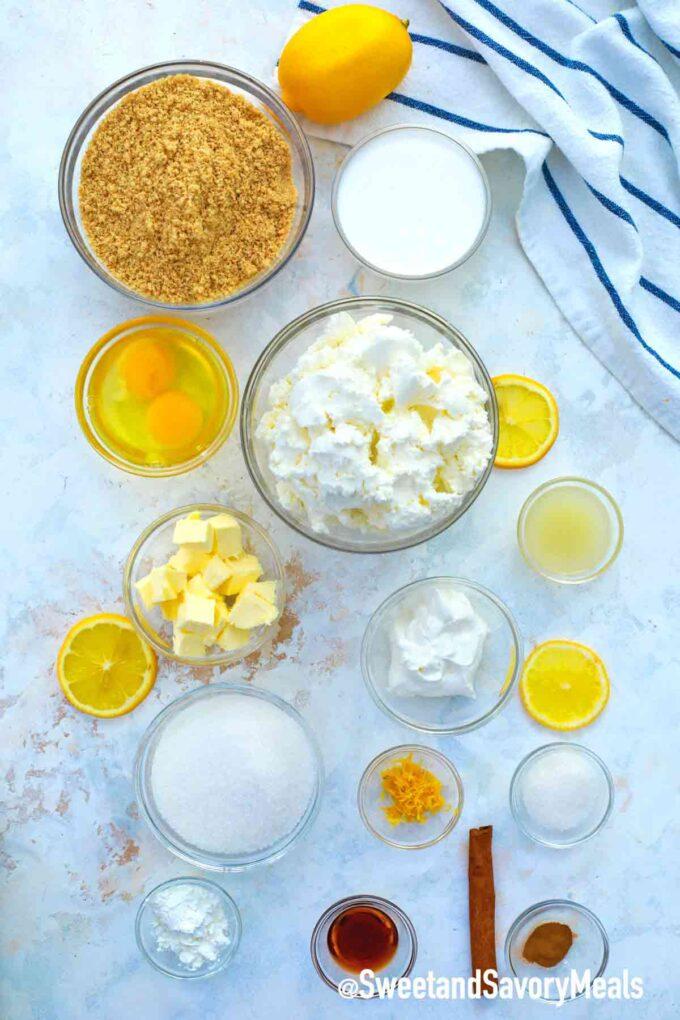 instant pot Meyer lemon cheesecake ingredients