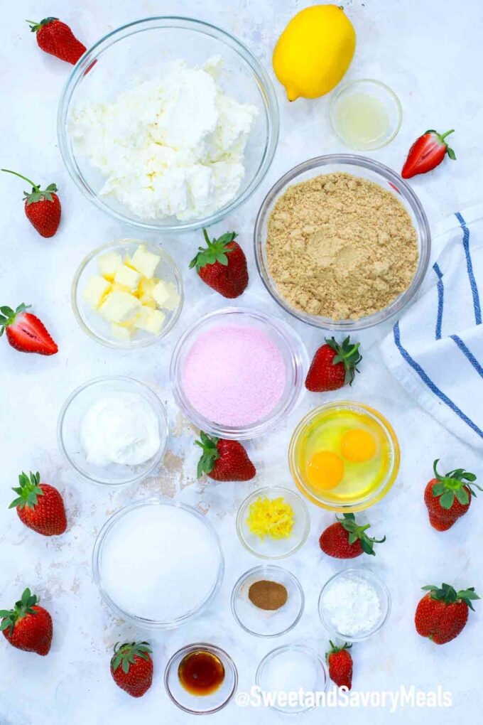 instant pot strawberry cheesecake ingredients on a table