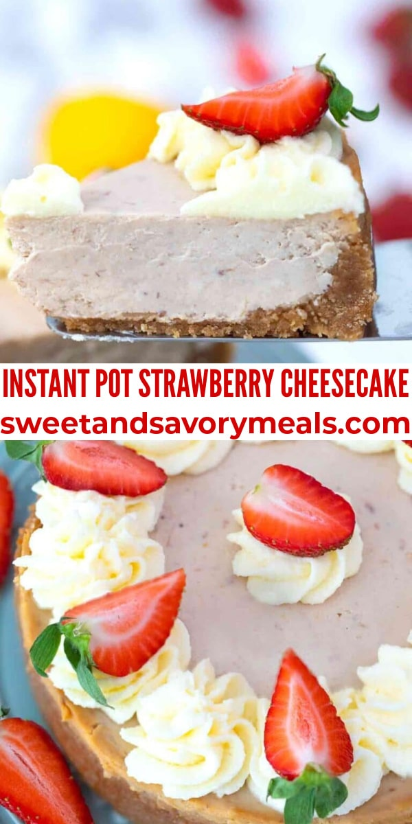easy instant pot strawberry cheesecake pin