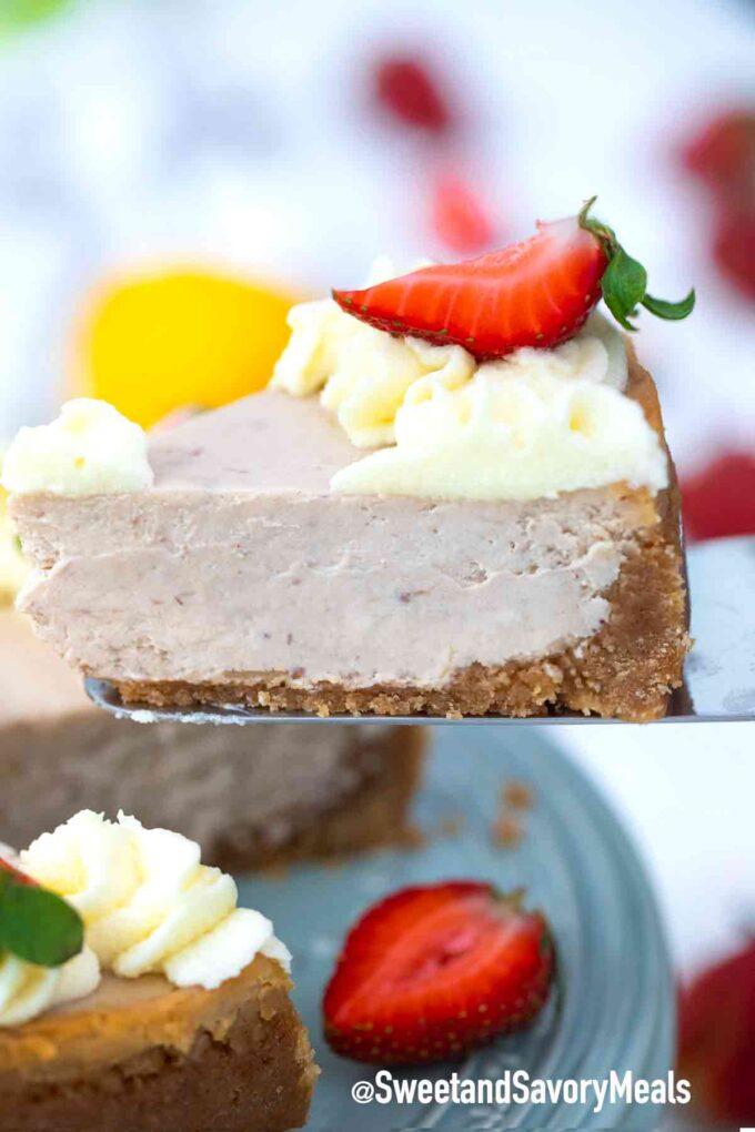 instant pot strawberry cheesecake slice