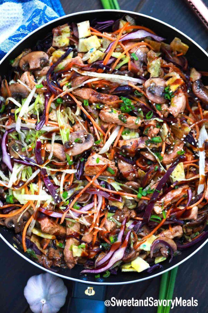 Moo Shu pork in a frying pan