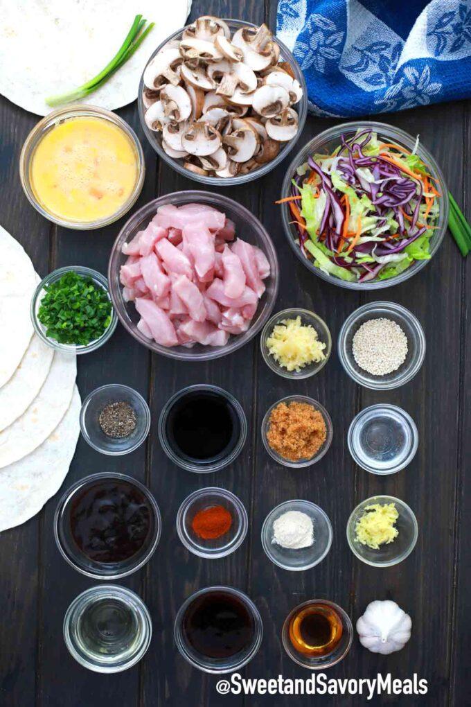 Moo Shu pork ingredients