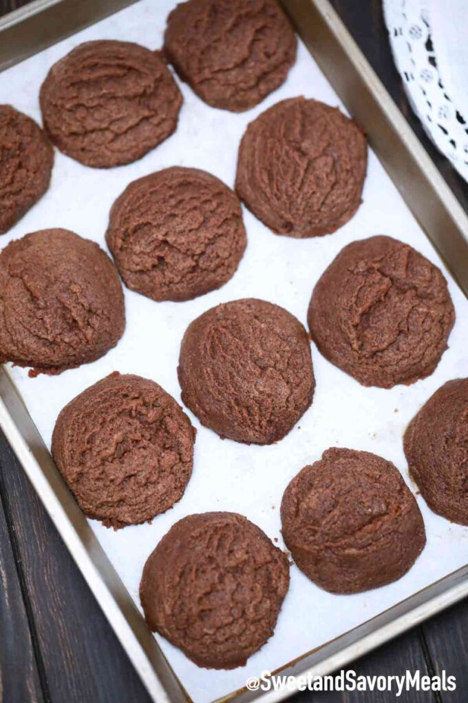 Nutella cookies on a baking sheet