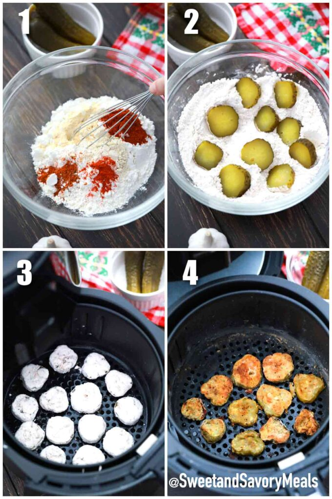 steps how to make air fryer fried pickles