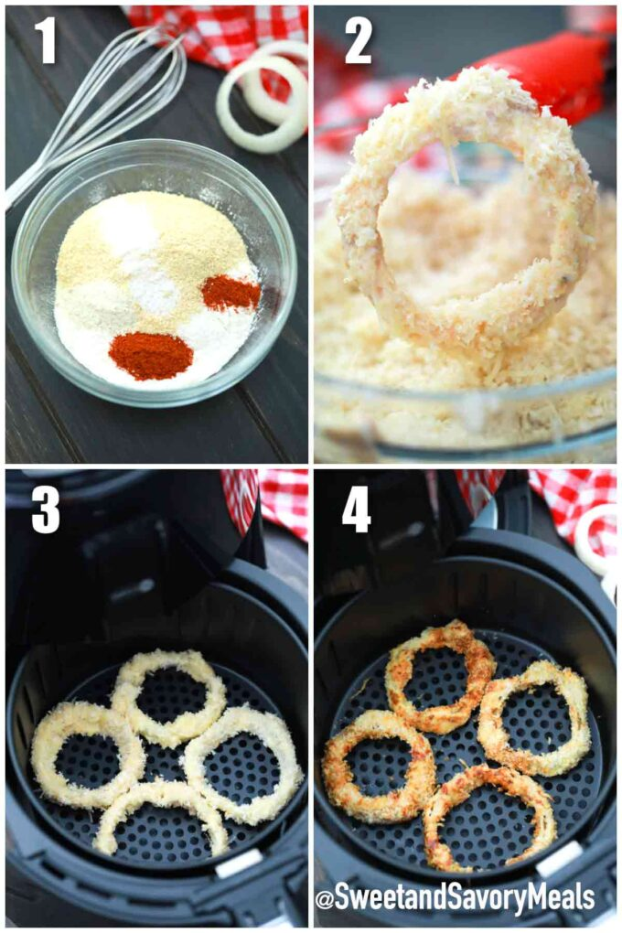 steps how to make air fryer onion rings