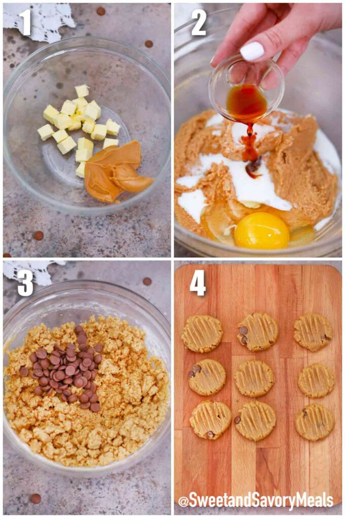 steps how to make air fryer peanut butter cookies