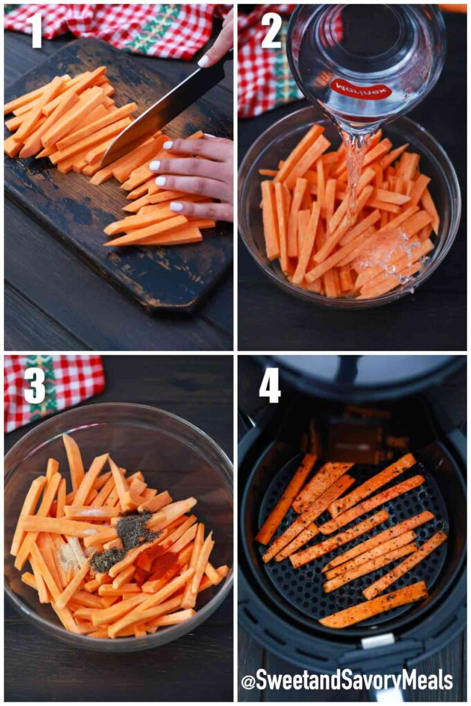 steps how to make air fryer sweet potato fries