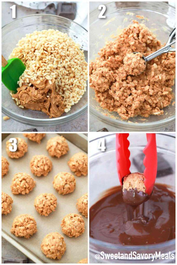 steps how to make crispy peanut butter balls