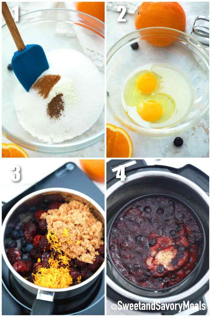 steps how to make instant pot berry cobbler
