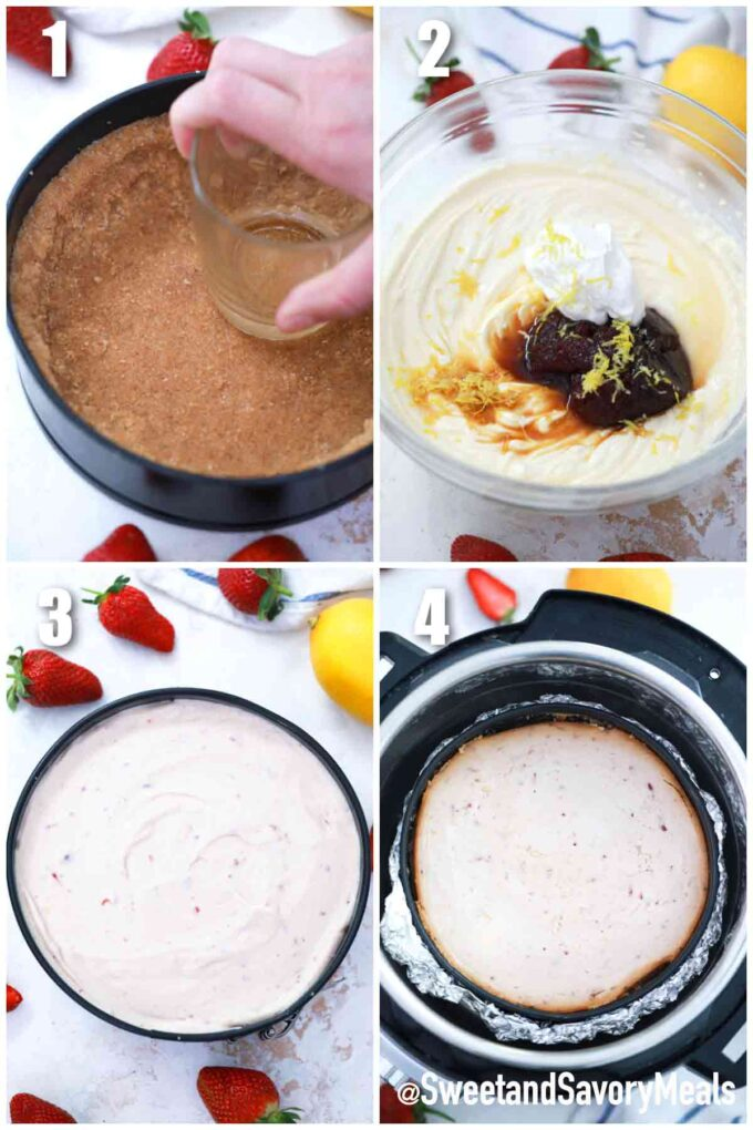 steps how to make instant pot strawberry cheesecake