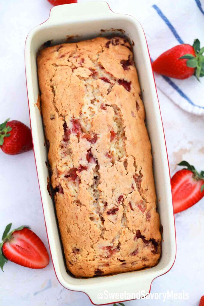 baked strawberry bread in a loaf pan