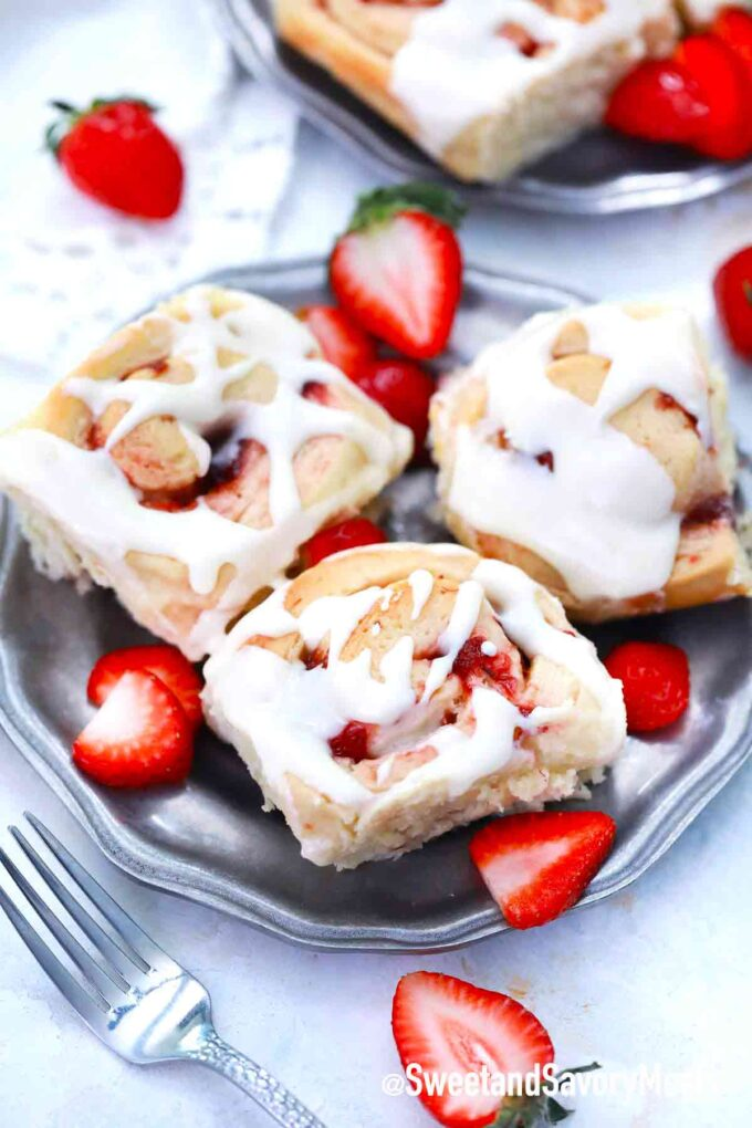 strawberry rolls on a plate