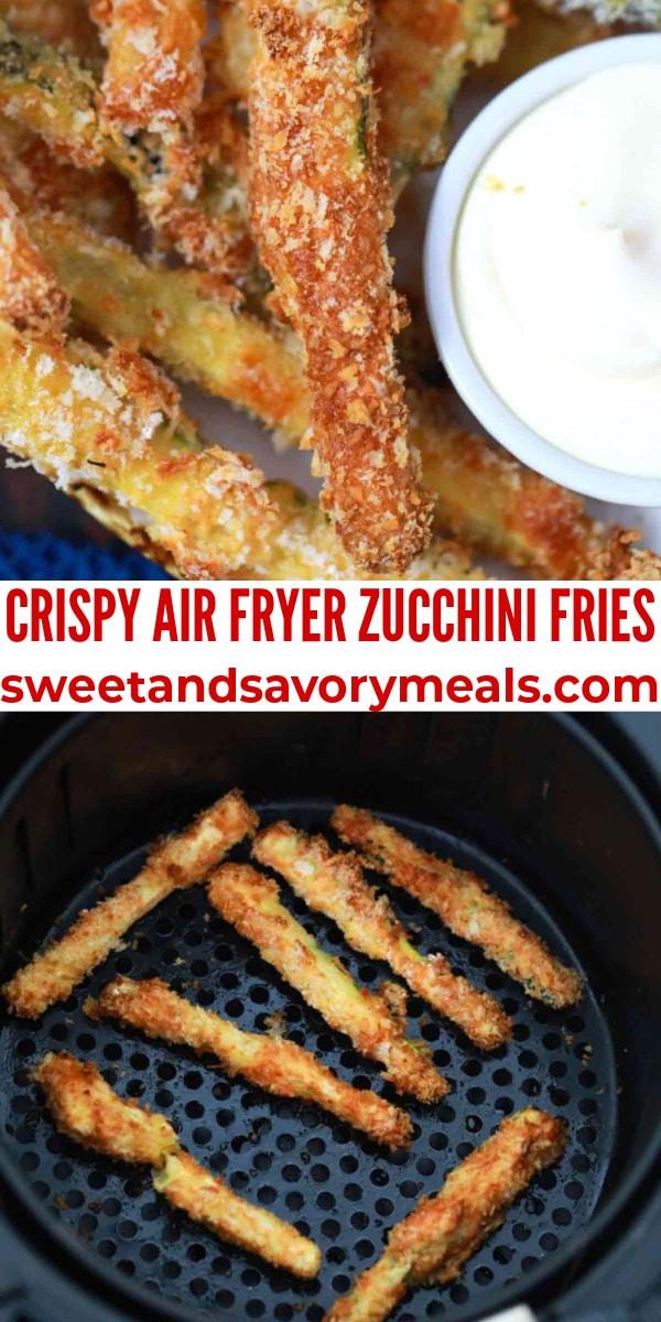 easy crispy air fryer zucchini fries pin