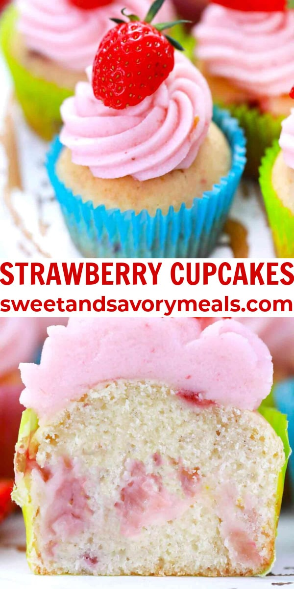 easy strawberry cupcakes pin