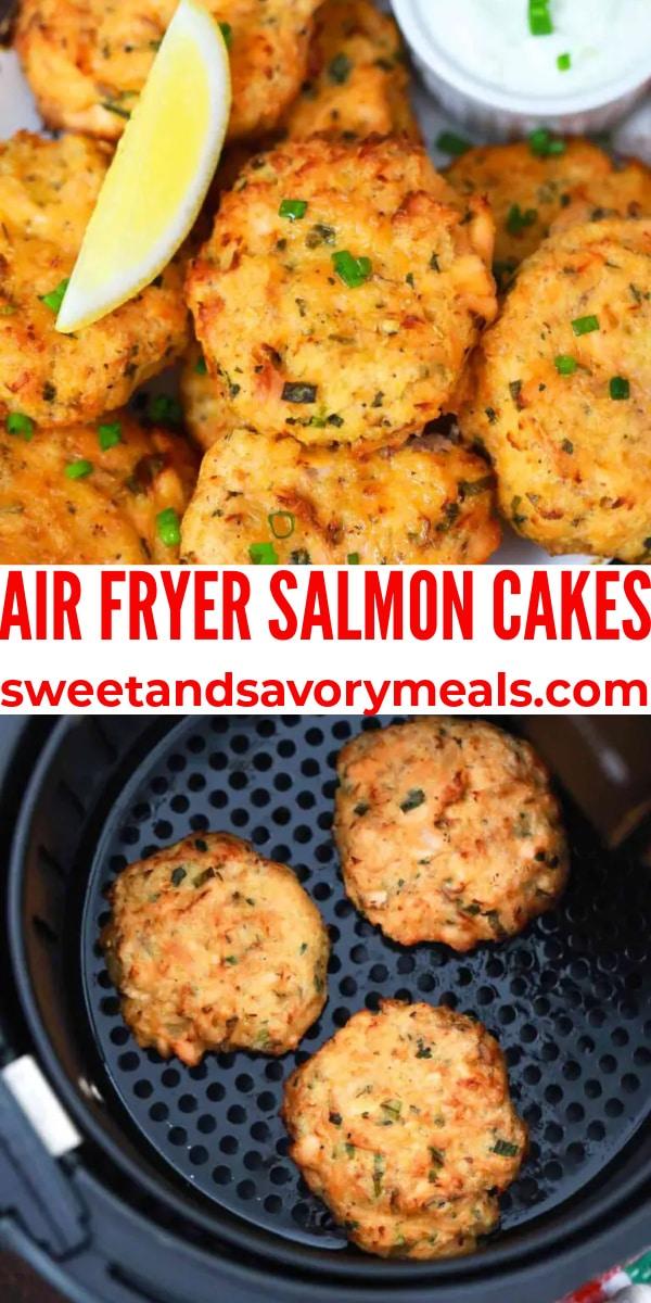 easy air fryer salmon cakes pin