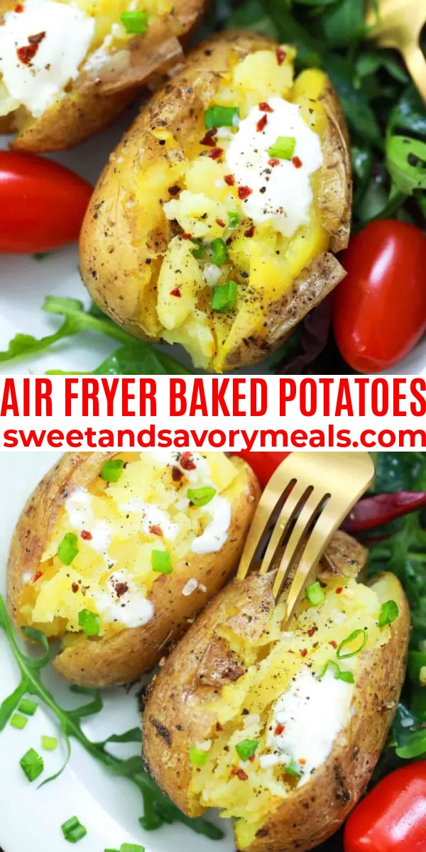 easy air fryer baked potatoes pin