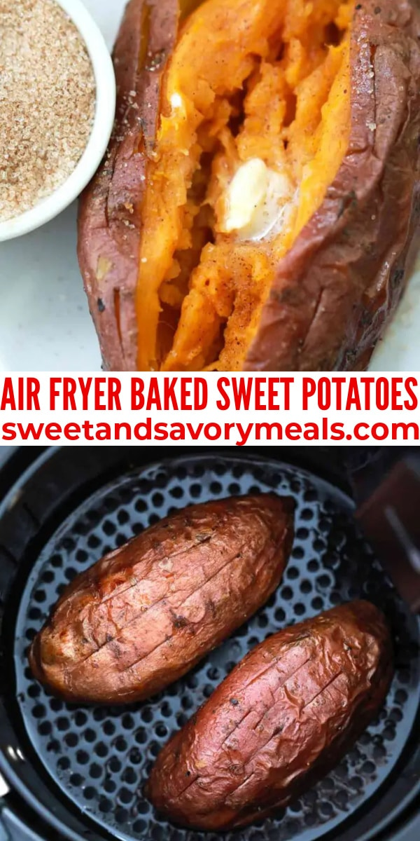 easy air fryer baked sweet potatoes pin