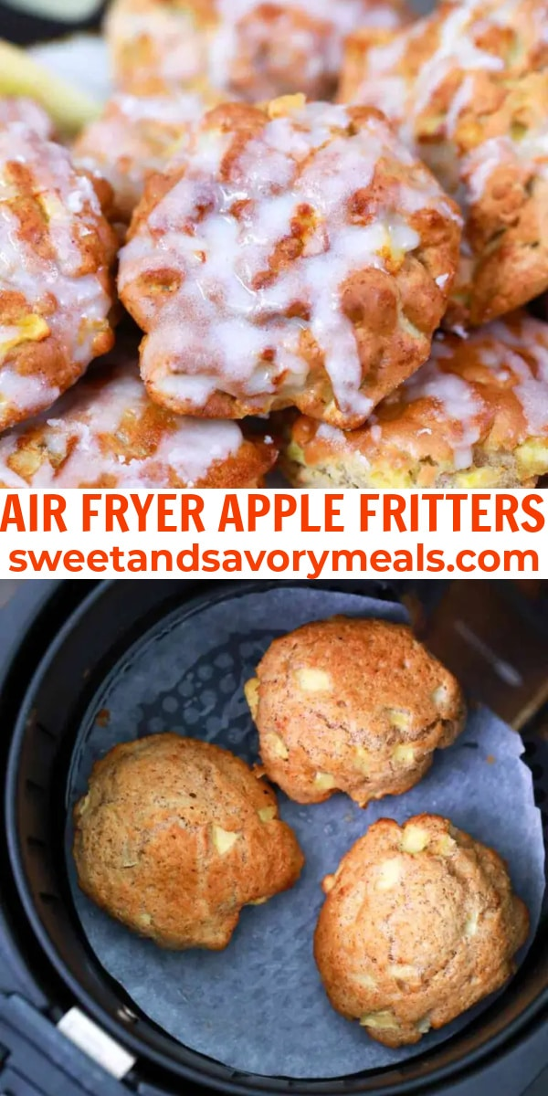 easy air fryer apple fritters pin