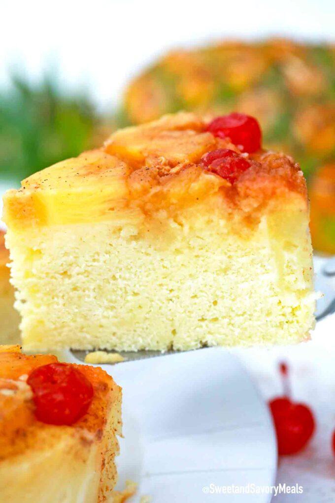 instant pot pineapple upside down cake slice