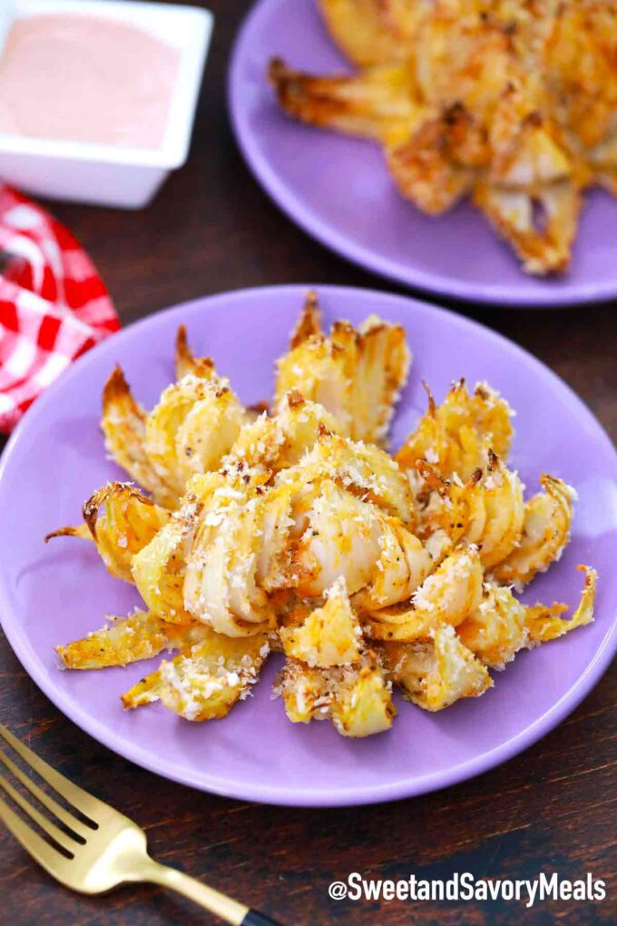 air fryer blooming onion on a plate