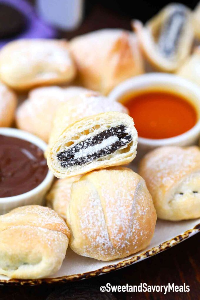 air fried Oreos with caramel and chocolate sauce