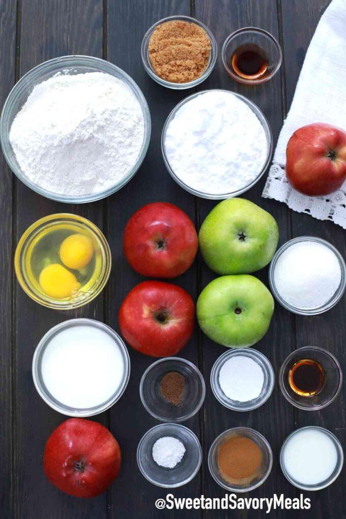 air fryer apples fritters ingredients