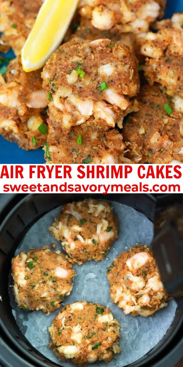 easy air fryer shrimp cakes pin