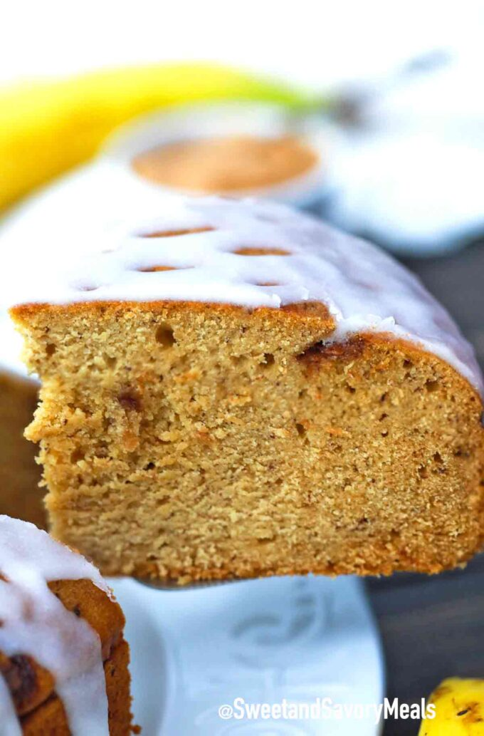 instant pot peanut butter banana bread with glaze