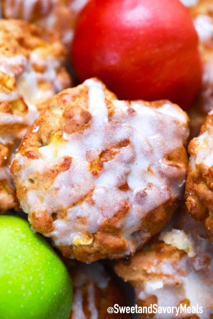 air fryer apples fritters with glaze