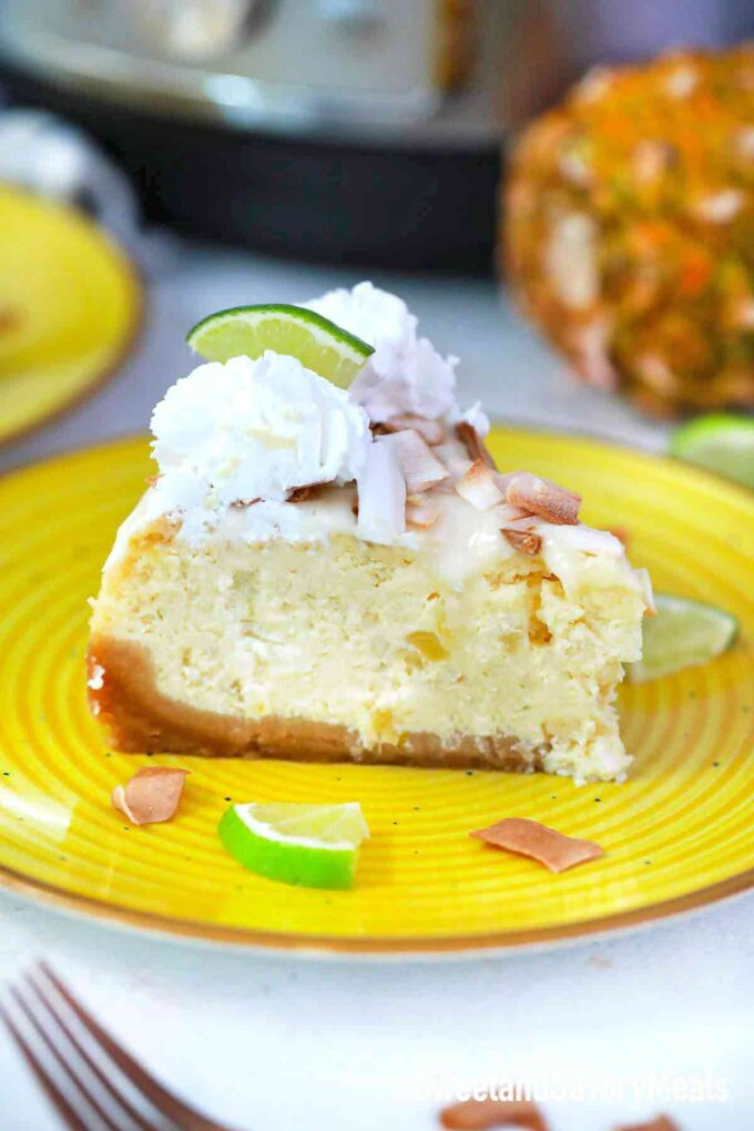 instant pot Pina Colada cheesecake with toasted coconut