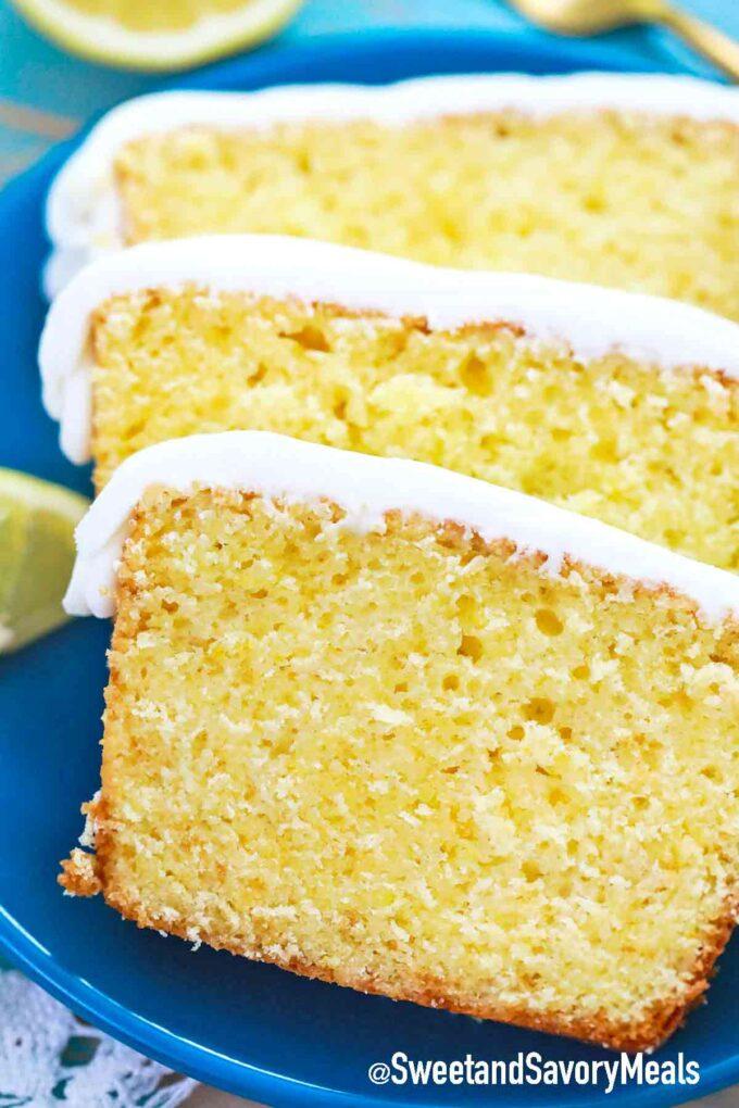 sliced lemon pound cake on a blue plate