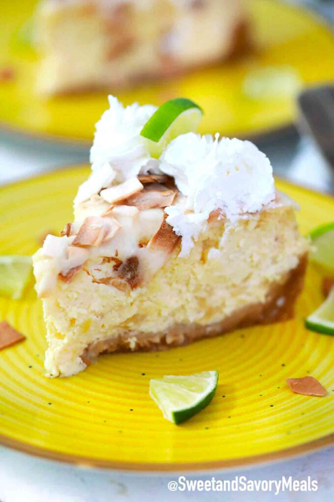instant pot Pina Colada cheesecake slice