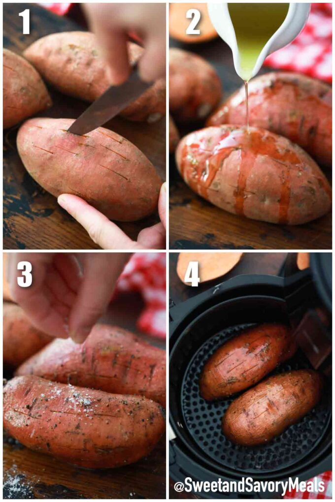 steps how to make air fryer sweet potatoes