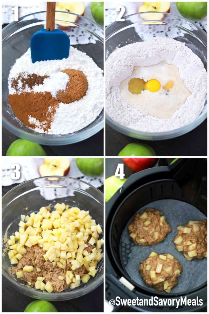 steps how to make air fryer apples fritters