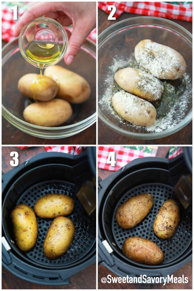 steps how to make Air fryer baked potato