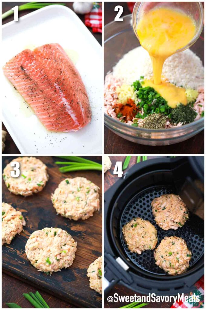 steps how to make air fryer salmon cakes
