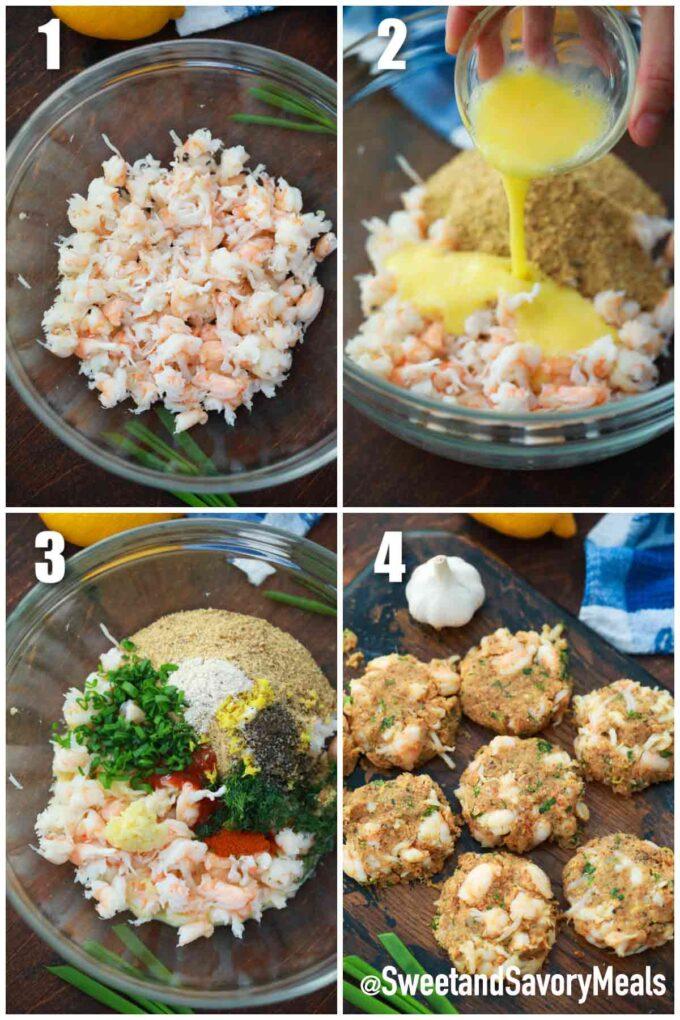steps how to make air fryer shrimp cakes