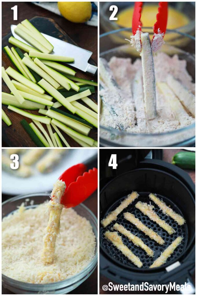 steps how to make air fryer zucchini fries
