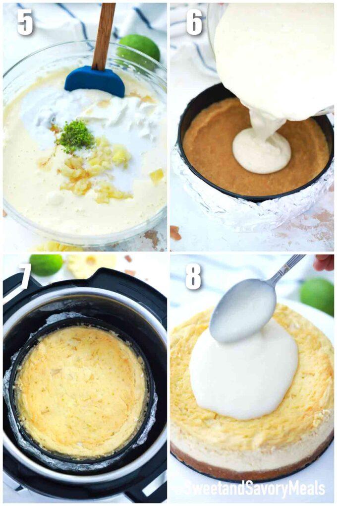 how to make instant pot Pina Colada cheesecake