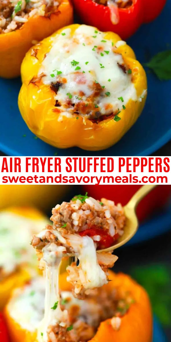 easy air fryer suffed peppers pin