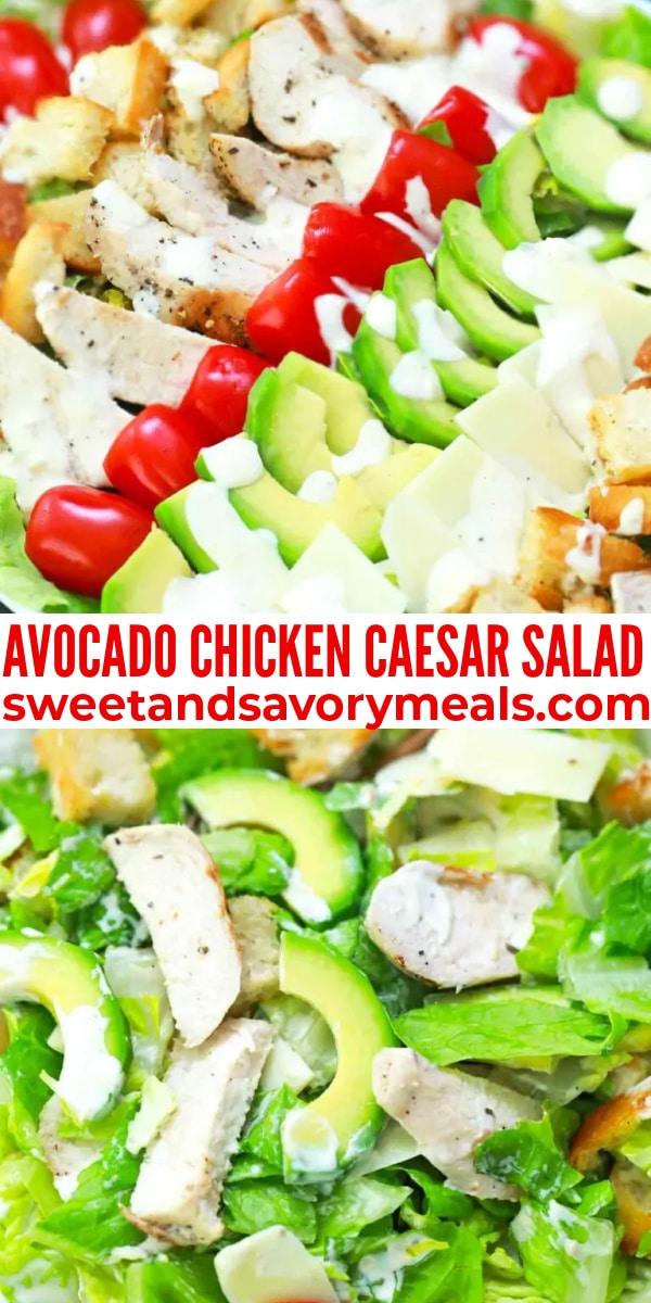 easy avocado chicken caesar salad pin