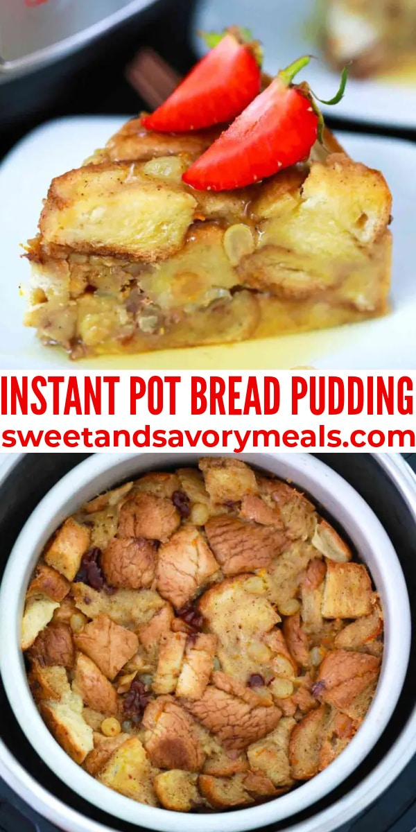 easy instant pot bread pudding pin