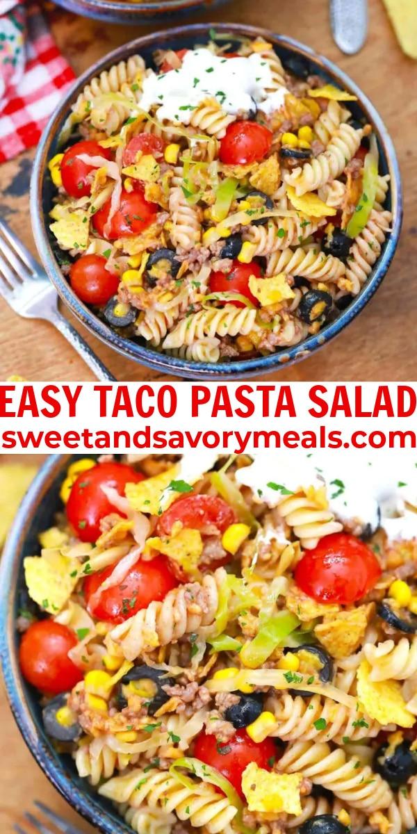 easy taco pasta salad pin