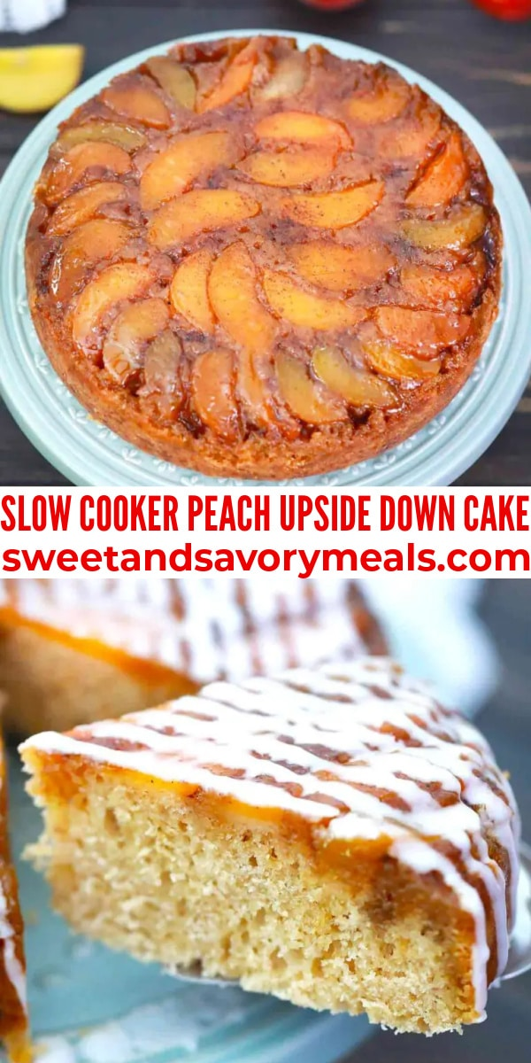 easy slow cooker peach upside down cake pin